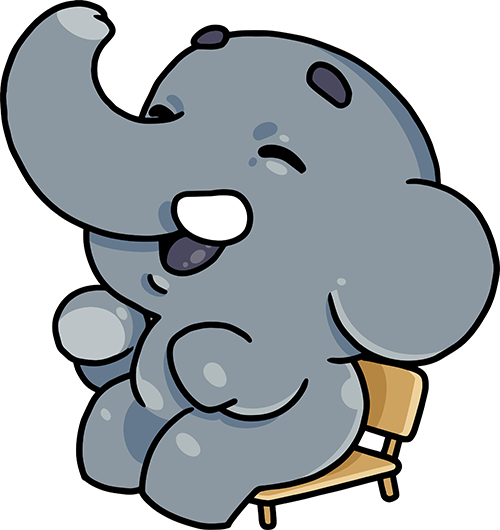 Elephant sitting on a chair!