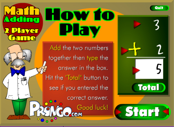 2 Player Math Game Addition